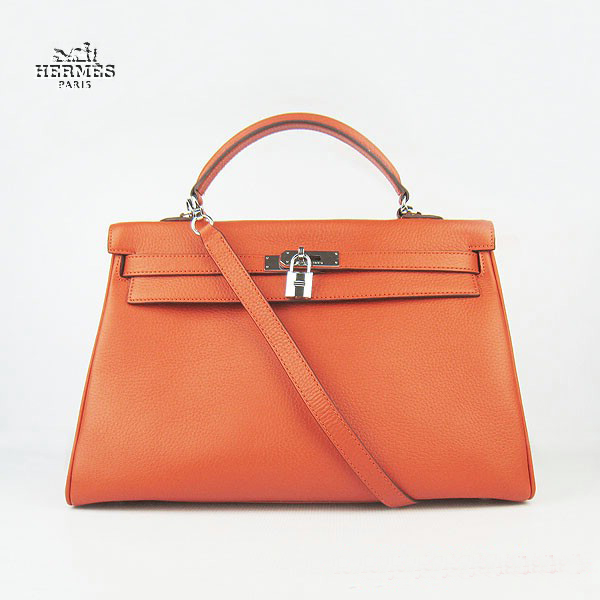 6308 Hermes Kelly 35cm Togo Leather Bag Orange 6308 Silver Hardware