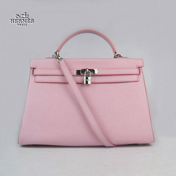 6308 Hermes Kelly 35cm Togo Leather Bag Pink 6308 Silver Hardware