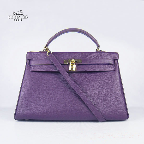 6308 Hermes Kelly 35cm Togo Leather Bag Purple 6308 Gold Hardware