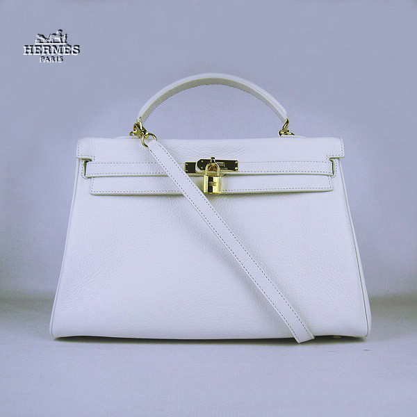 6308 Hermes Kelly 35cm Togo Leather Bag White 6308 Gold Hardware
