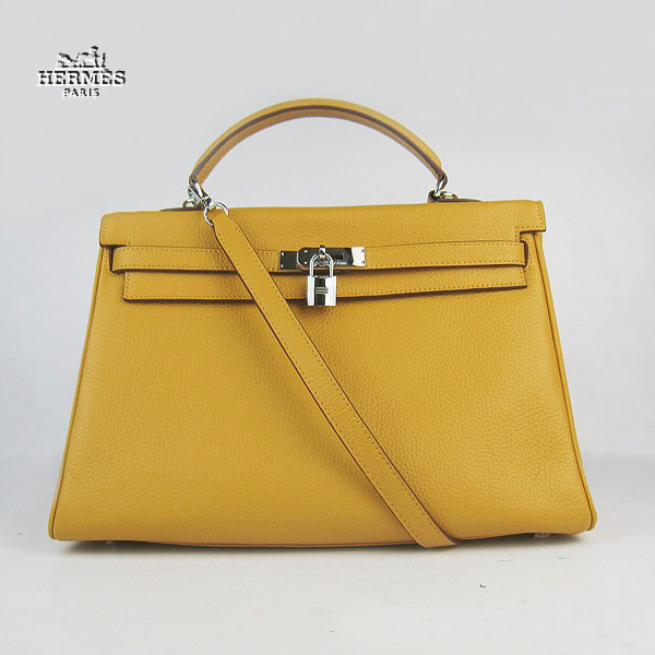 6308 Hermes Kelly 35cm Togo Leather Bag Yellow 6308 Silver Hardware