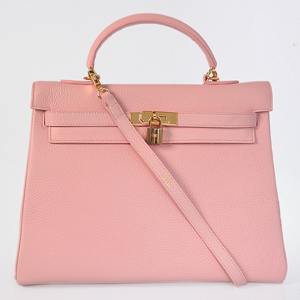 K35CPG Hermes kelly 35CM clemence leather in Pink with Gold hardware