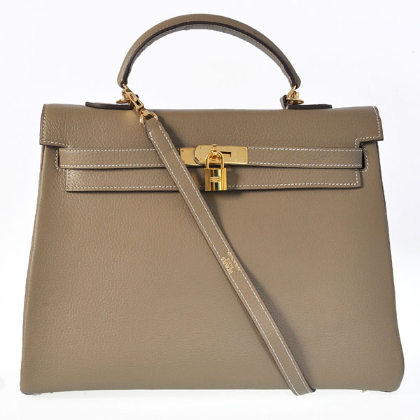 K35CDGG Hermes kelly 35CM clemence leather in Dark Grey with Gold hardware