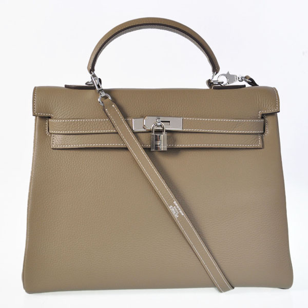 K35CDGS Hermes kelly 35CM clemence leather in Dark Grey with Silver hardware