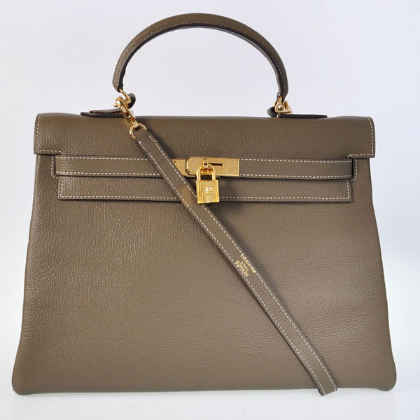 K35TDGG Hermes kelly 35CM togo leather in Dark Grey with Gold hardware