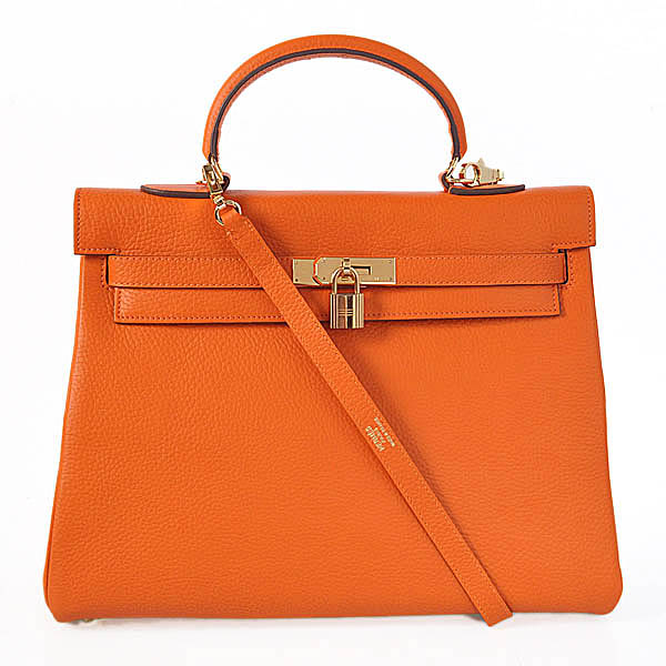 K35COG Hermes kelly 35CM clemence leather in Orange with Gold hardware