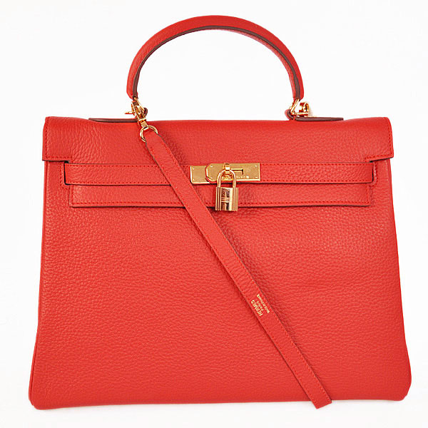 K35CFG Hermes kelly 35CM clemence leather in Flame with Gold hardware