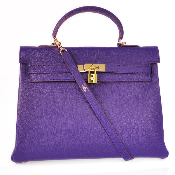 HKL35P Hermes kelly 35CM Iris Purple togo Leather(Gold)