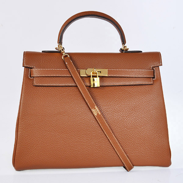 HKL35DC Hermes kelly 35CM dark camel clemence leather(Gold)