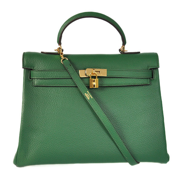 HKL35DG Hermes kelly 35CM Dark green clemence leather(Gold)