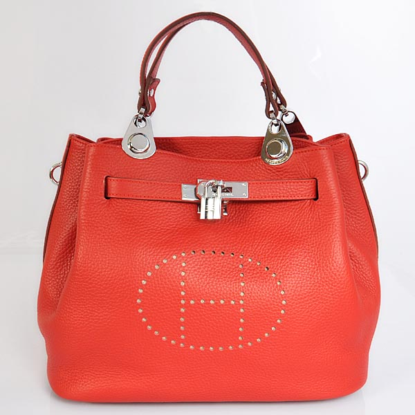 8388FS Hermes Mini so kelly bag in Flame with Silver hardware
