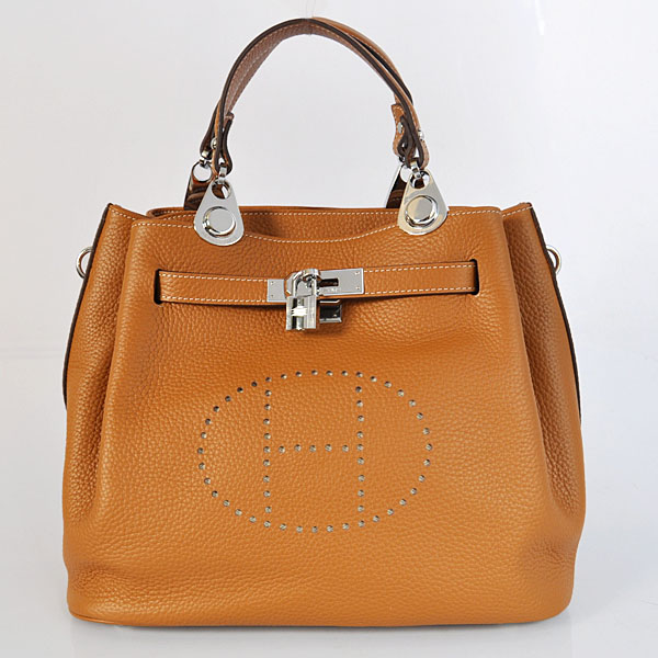 8388CS Hermes Mini so kelly bag in Camel with Silver hardware