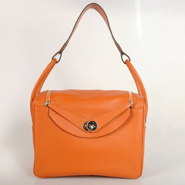 1056OS Hermes Lindy Bag 34 clemence leather in Orange with Silver hardware