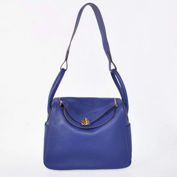 H1057 Hermes Lindy 30CM Havanne Handbags 1057 Dark Blue Leather Golden Hardware