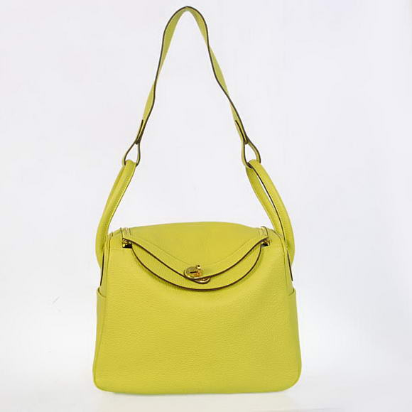 H1057 Hermes Lindy 30CM Havanne Handbags 1057 Lemon Leather Golden Hardware