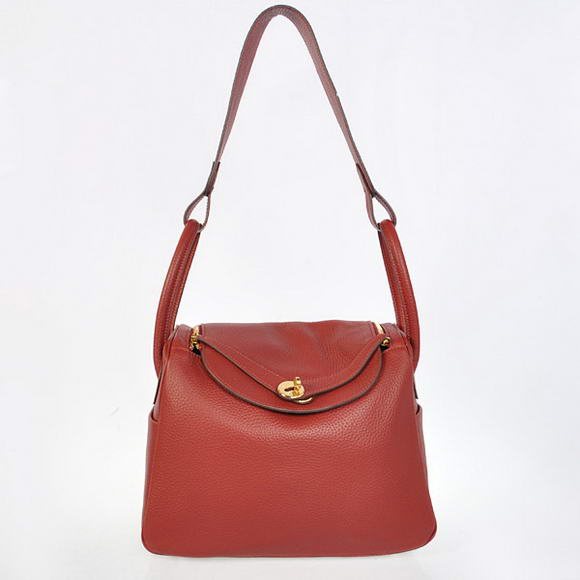 H1057 Hermes Lindy 30CM Havanne Handbags 1057 Bordeaux Leather Golden Hardware