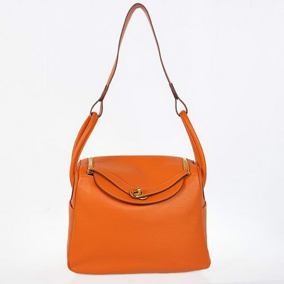 H1057 Hermes Lindy 30CM Havanne Handbags 1057 Orange Leather Golden Hardware
