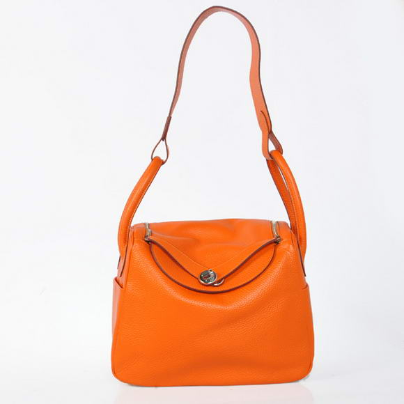 H1057 Hermes Lindy 30CM Havanne Handbags 1057 Orange Leather Silver Hardware