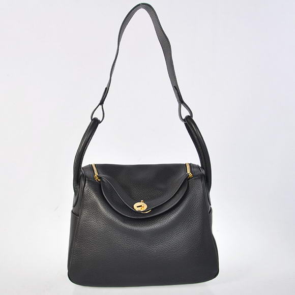 H1057 Hermes Lindy 30CM Havanne Handbags 1057 Black Leather Golden Hardware