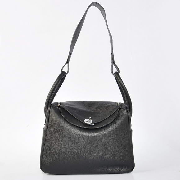 H1057 Hermes Lindy 30CM Havanne Handbags 1057 Black Leather Silver Hardware