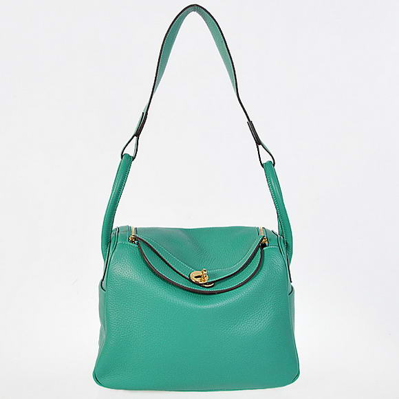 H1057 Hermes Lindy 30CM Havanne Handbags 1057 Green Leather Golden Hardware
