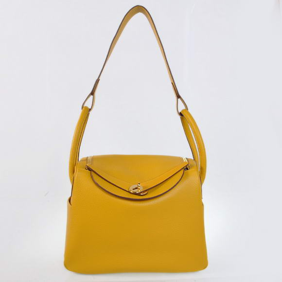 H1057 Hermes Lindy 30CM Havanne Handbags 1057 Yellow Leather Golden Hardware