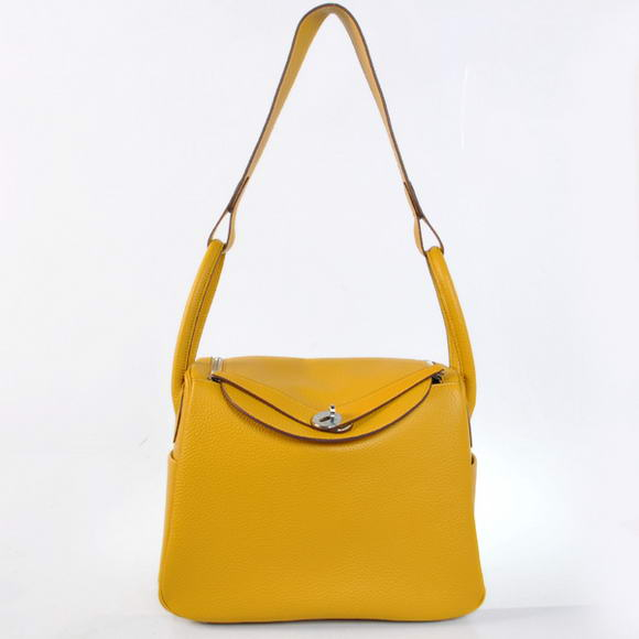 H1057 Hermes Lindy 30CM Havanne Handbags 1057 Yellow Leather Silver Hardware