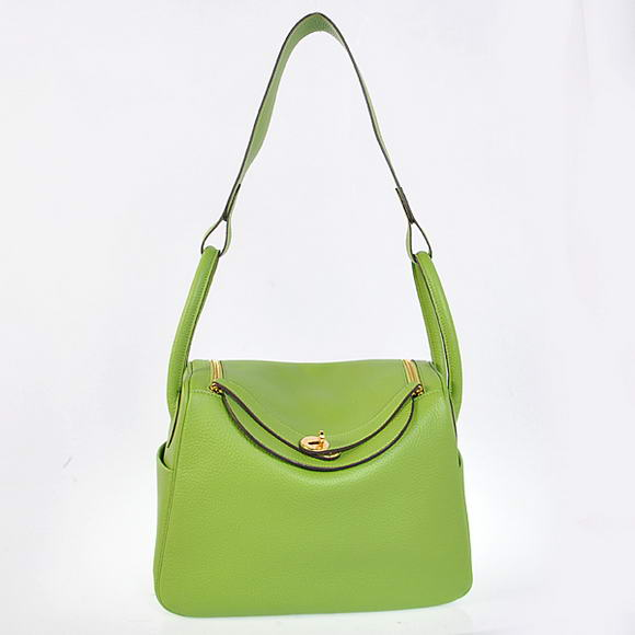 H1057 Hermes Lindy 30CM Havanne Handbags 1057 Light Green Leather Golden Hardware