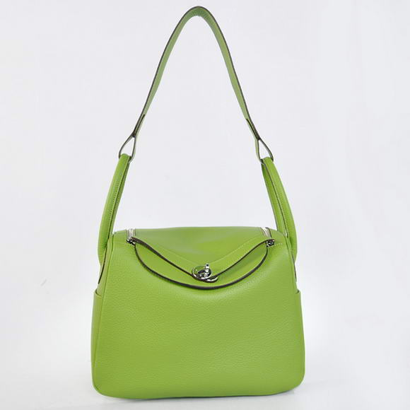 H1057 Hermes Lindy 30CM Havanne Handbags 1057 Light Green Leather Silver Hardware