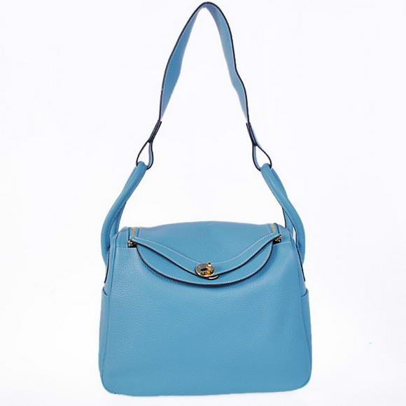 H1057 Hermes Lindy 30CM Havanne Handbags 1057 Light Blue Leather Golden Hardware