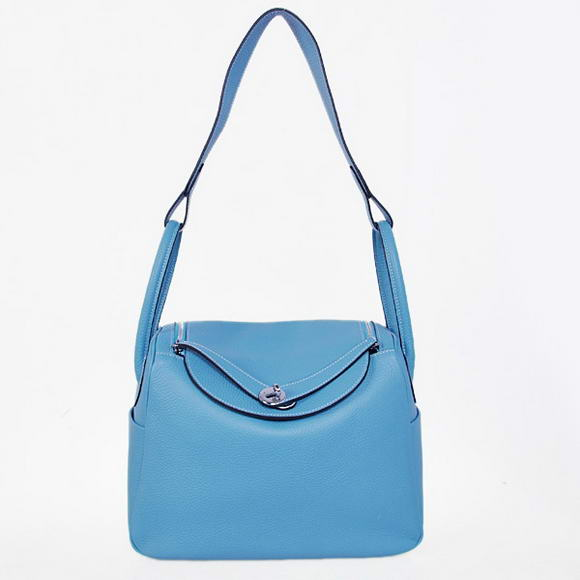 H1057 Hermes Lindy 30CM Havanne Handbags 1057 Light Blue Leather Silver Hardware