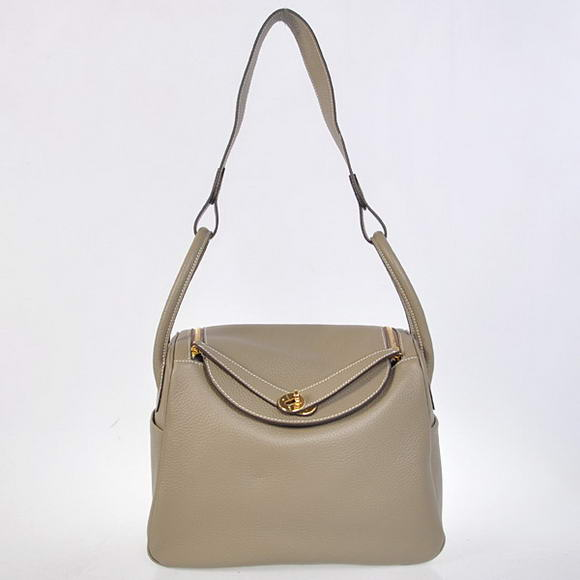 H1057 Hermes Lindy 30CM Havanne Handbags 1057 Grey Leather Golden Hardware