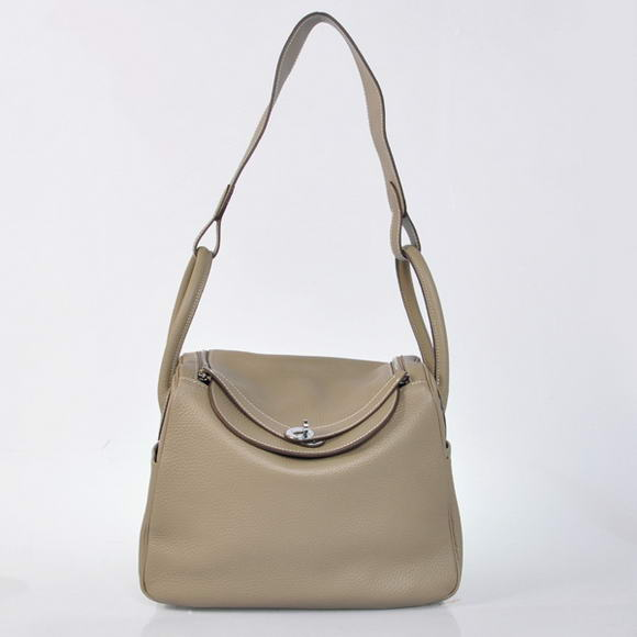 H1057 Hermes Lindy 30CM Havanne Handbags 1057 Grey Leather Silver Hardware