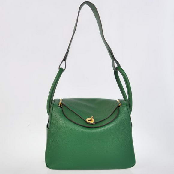 H1057 Hermes Lindy 30CM Havanne Handbags 1057 Dark Green Leather Golden Hardware