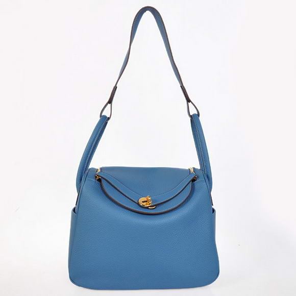 H1057 Hermes Lindy 30CM Havanne Handbags 1057 Blue Leather Golden Hardware