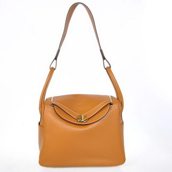 H1057 Hermes Lindy 30CM Havanne Handbags 1057 Camel Leather Golden Hardware