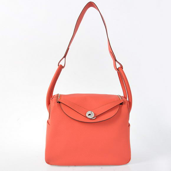 H1057 Hermes Lindy 30CM Havanne Handbags 1057 Light Red Leather Silver Hardware