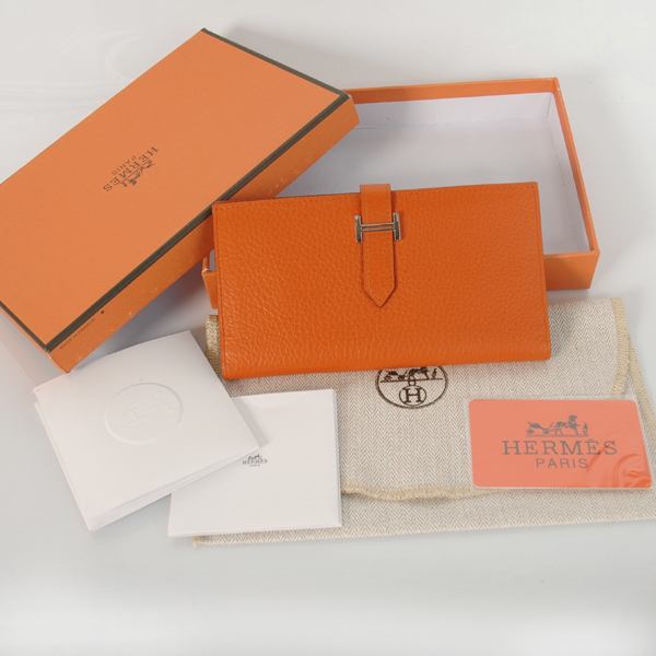 H2WLSLO Hermes 2 fold wallet clemence leather in Orange