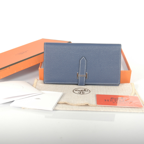 H2WBJDB Hermes 2 fold wallet togo leather in Dark Blue