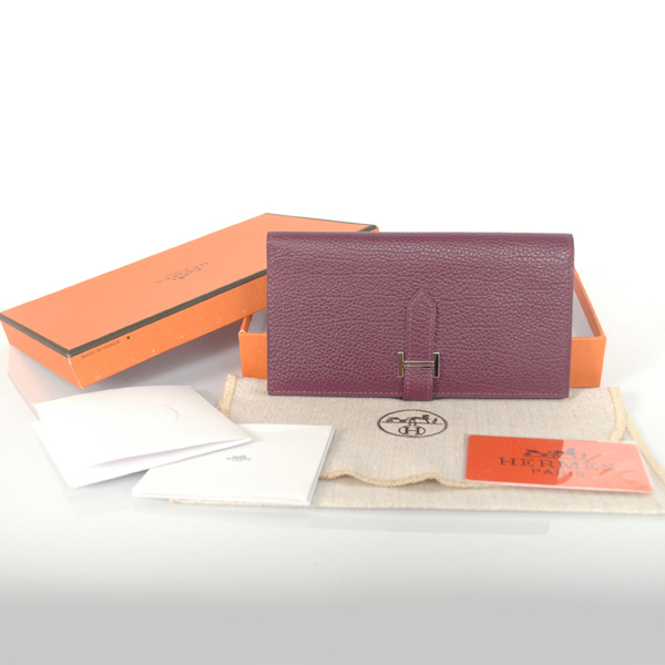H2WBJSP Hermes 2 fold wallet togo leather in Purple