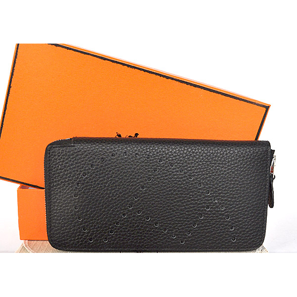 A808 Hermes Evelyn Wallet clemence leather in Black