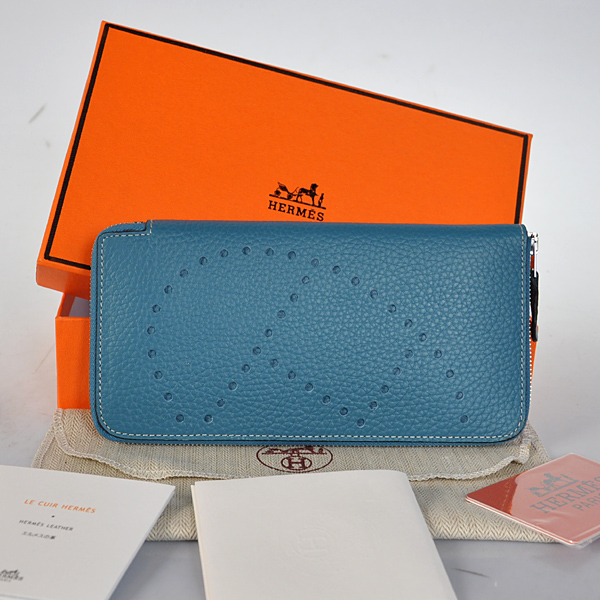 A808 Hermes Evelyn Wallet clemence leather in Medium Blue