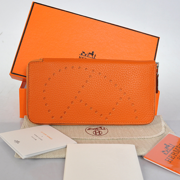 A808 Hermes Evelyn Wallet clemence leather in Orange