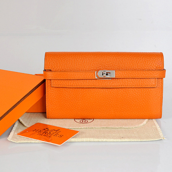 A708 Hermes Kelly Wallet clemence leather in Orange