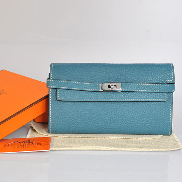 A708 Hermes Kelly Wallet clemence leather in Medium Blue