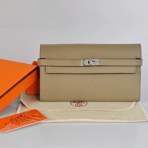 A708 Hermes Kelly Wallet clemence leather in Dark Grey
