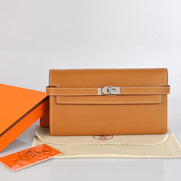A708 Hermes Kelly Wallet clemence leather in Camel