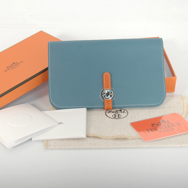 HPWMBO Hermes passport Wallet togo leather in Medium Blue/Orange