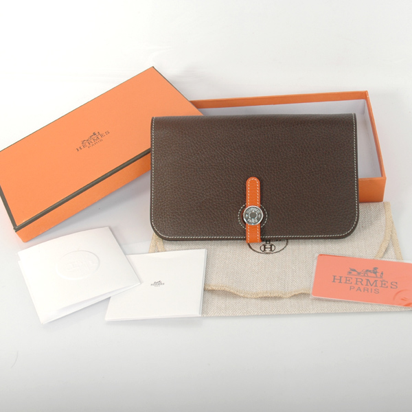 HPWDBO Hermes passport Wallet clemence leather in Dark Brown/Orange
