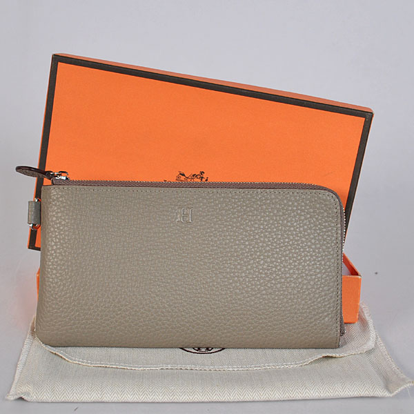 A908 Hermes Zipper Wallet clemence leather in Dark Grey